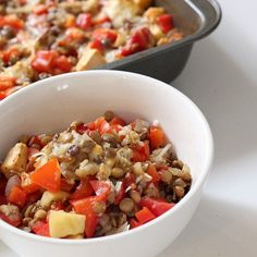 Low-Calorie, Big Portions: Red Pepper and Lentil Bake: High in vitamin A, vitamin C, and fiber, red bell peppers make a perfect accompaniment to protein-rich lentils in this low-calorie recipe.