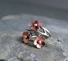 Cherry Blossom Branch Adjustable Ring Spring Jewelry by HapaGirls, $35.00