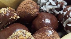 Cocoa, butter and condensed milk are cooked, allowed to cool and formed into little balls for easy eating.