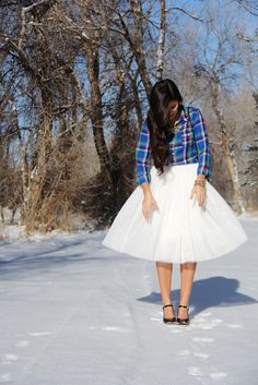 Tulle, ballerina skirt paired with plaid