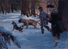 "John Buxton painting - The Dog Handler 13"" x 18"" oil"
