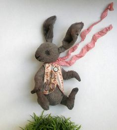 Teddy Rabbit  style Artist viscose vintage OOAK  handmade collectible Rabbit toy…