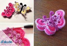 Crochet Butterfly - Kostenloser DIY Guide - Deko - Amigurumi Tips Crochet Butterfly, Butterfly Crafts, Crochet Flowers, Knitting Patterns Free, Free Pattern, Crochet Patterns, Crochet Keychain, Crochet Earrings, Borboleta Crochet