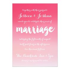Pink Ombre Watercolor Script Wedding Invitation