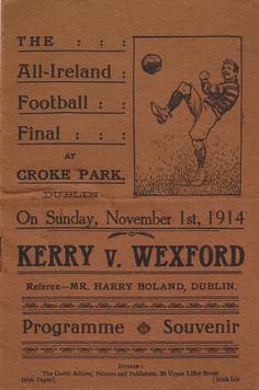 1914 All-Ireland SF final programme - Kerry v Wexford Football Final, Croke Park, Programming, Finals, Ireland, Irish, Sports, Posters, Hs Sports