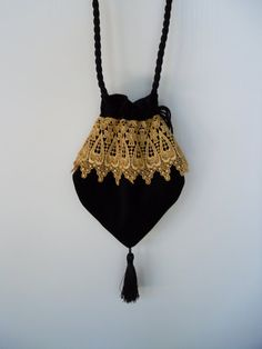Victorian Bag Black Velvet with Gold Metallic by piperscrossing, $30.00