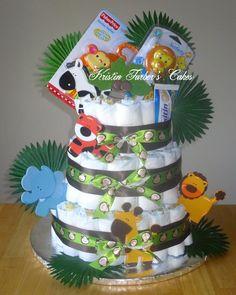 Loaded Jungle Animals Diaper Cake