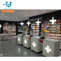 Customized display furniture wooden pharmacy shop counter design with regard to drug store interior design Shop Window Displays, Store Displays, Shop Counter Design, Pharmacy Store, Drug Store, Medical Design, Cosmetic Design, Retail Store Design, Shop Interior Design