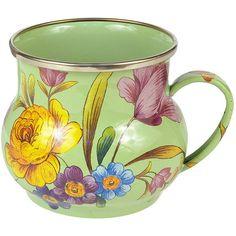 MacKenzie-Childs Flower Market Enamel Mug - Green (80 CAD) ❤ liked on Polyvore featuring home, kitchen & dining, drinkware, mugs, green, green mug, handmade mugs, enamel mug, mackenzie-childs and mackenzie childs mug