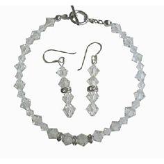 Bridal Irridscent Clear Swarovski Crystals Bracelet & Earrings Set