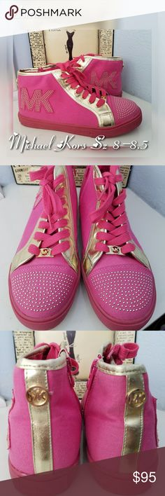 """MICHAEL KORS Ivy Shannon Fushia Gold Sneakers Authentic Michael Michael Kors are absolutely adorable.   Short ankle high top Size zipper Canvas made  Excellent condition  💟The shoe reads a size US 5 but they are big. I looked online and found these for youth sizes, but this would fit a size 8 -8.5. PLEASE READ THE FOOT MEASUREMENT PRIOR TO PURCHASING!!! 💟 Shoe measured from sole toe to heel of foot - 10""""   I also have red Michael Kors heels in my closet. Let's Bundle.   Stop by my closet…"""