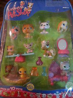 (Addi's pin)  2006 Hasbro LPS Littlest Pet Shop Playset PACK of 10 PETS + Accessories New NIP