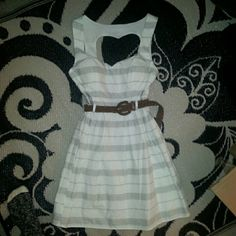 """❤️ NWT Heart Back Striped White Dress Absolutely adorable, especially in the back. White with gray stripes. Sweetheart neckline. Belt included! Size 9, comes to mid-thigh on me and I'm 5'6"""". Similar to ModCloth in style and quality. Use offer tool, feel free to ask questions!  City Studio Dresses"""