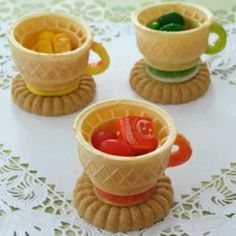 Edible tea cups. Doing this food project with the girls for Valentine's Day! Cute idea for a girls tea party too.