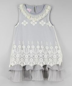 Look what I found on #zulily! Gray & White Lace Ruffle Dress - Infant, Toddler & Girls #zulilyfinds