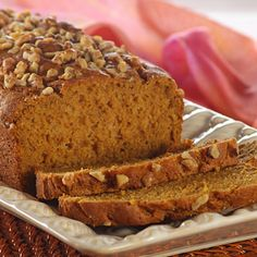 Old-Fashioned Pumpkin Nut Loaf Bread (use white whole wheat flour for a healthier version)