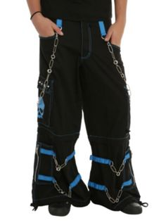 Tripp Black And Blue Skull Chain Strap Pants