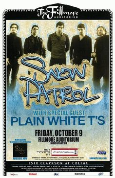 Concert poster for Snow Patrol from The Fillmore in Denver, CO. October 9, 2009. 11x17 card stock.