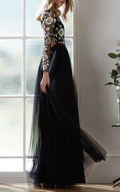 Black Floral Cluster Gown by Needle & Thread | Moda Operandi