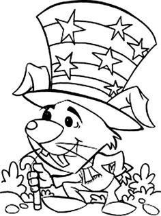 A Mouse Celebrating Independence Day Coloring Page - Download & Print Online Coloring Pages for Free | Color Nimbus