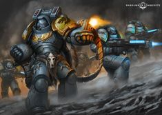Space Wolves Aggressors & Hellblasters by Catherine O'Connor Warhammer 40k Space Wolves, Warhammer 40k Art, Warhammer 40k Miniatures, Warhammer Fantasy, Fantasy Angel, Fantasy Armor, Sci Fi Fantasy, Art Clipart, Image Clipart