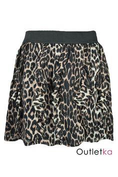 Nowa, spódnica firmy Jane Norman w brązowo-czarną panterę. Niezwykle urocza, posiada falbanki na całej długości. W pasie posiada dużą gumkę, dzięki czemu doskonale dopasowuje się do sylwetki. Spódnica posiada czarną podszewkę. Z kompletem firmowych metek Jane Norman.