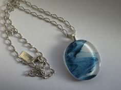 grayc glass | Handmade Fused Glass Art & Custom Glasswork »Swirly blue Oval Necklace