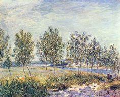 Landschaftsmalerei impressionismus  Waldrand, December', öl auf leinwand von Alfred Sisley (1839-1899 ...