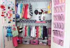 I love this bow and accessory organization! Find more kids closet organization on Design Dazzle.