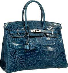 Hermes 35cm Shiny Blue Roi Porosus Crocodile Birkin Bag with Palladium  Hardware Hermes Bags 7b7fc8fc698ca