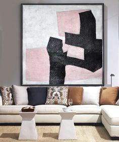 Handmade Minimal Painting #MN33A from CZ Art Design, black, white, pink, geometrical art canvas painting #neutralinterior #celineziangart