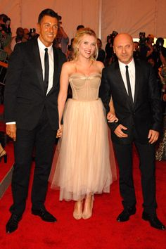 Stefano Gabbana and Domenico Dolce with Scarlett Johansson, in Dolce  Gabbana and Fred Leighton jewels.
