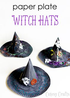"""Halloween Craft for Kids - Paper Plate Witch Hat - Cutesy Crafts - - Adorable Halloween craft for kids! Make this paper plate witch hat and teach them how to sing """"I'm a Mean Old Witch with a Hat! Scary Halloween Crafts, Halloween Crafts For Toddlers, Fete Halloween, Toddler Crafts, Preschool Crafts, Kids Crafts, Halloween Hats, Kids Diy, Craft Activities"""