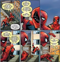 You can really see how much respect and admiration Deadpool has for Spider-Man. From – Spider-Man – Deadpool Funny Marvel Memes, Avengers Memes, Marvel Dc Comics, Marvel Avengers, Spideypool Comic, Superfamily, Deadpool X Spiderman, Collor, Spider Verse