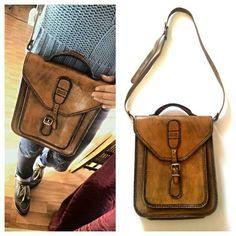 Sublime sacoche en cuir vintage fabriqué à la main en Argentine