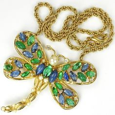Christian Dior by Henkel and Grosse Gold Emerald Sapphire and Pearls Large Dragonfly Pendant
