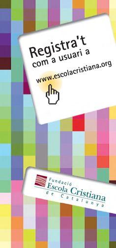 """Fulletó """"Registra't"""" Fundació Escola Cristiana de Catalunya, 2008.  #design #religion #education"""