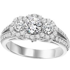 1.50cttw 3-Stone Plus Round Diamond Engagement Ring with Halo Frame