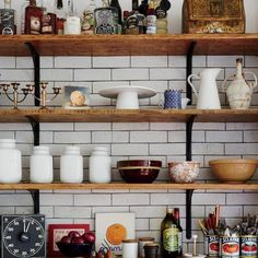 Clutter Buster: City/Country Chic Kitchens - leave everything on shelves where you can see it