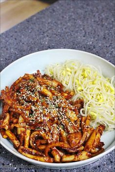 Squid stir fry with radish and bean sprout Asian Recipes, Real Food Recipes, Cooking Recipes, Korean Dishes, Korean Food, K Food, Easy Cooking, No Cook Meals, Food Photo