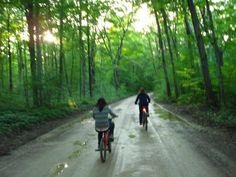 Riding through the woods at Cape Croker Park in the Bruce Peninsula.