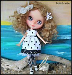 BLYTHE doll dress  OOAK  Doing Dots   matching black by CooeeChris