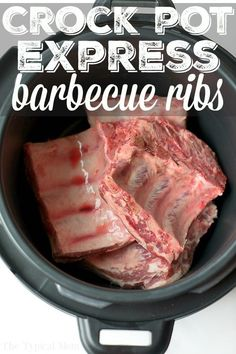 If you got this new pressure cooker you might be looking for an easy Crock Pot Express ribs recipe and I have one for you here! Tender fall off the bone barbecue ribs cooked in less than 30 minutes is now possible! Husband and kid approved, this is the only way I cook them now. #crockpotexpress #ribs #pork #beef #easy #recipe #bbq #barbecue #tender #pressurecooker