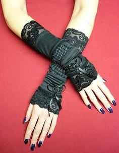 Steampunk Armstulpen mit Spitze, schwarz,  gothic by estylissimo, Schwarze Armstulpen (mit sichtbaren Nähten),  gemacht aus verschiedenen elastischen Stoffen - schwarz, ...