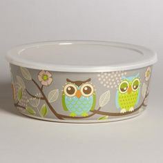 One of my favorite discoveries at WorldMarket.com: Large Grey Owl Bamboo Bowl with Lid