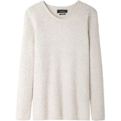 Isabel Marant Isaac Pullover (710 BRL) ❤ liked on Polyvore featuring tops, sweaters, long sleeve tops, white knit sweater, chunky white sweater, pullover sweater and chunky knit sweater