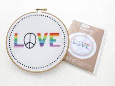 Rainbow Embroidery Pattern, Love Needlecraft Pattern, Printed Fabric For Embroidery, GBLT Hoop Art, Rainbow Needlework, Adults Craft Kits