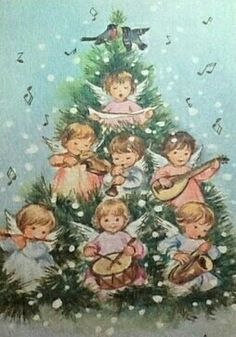Christmas Tree & Angels Card in Pastels Old Fashioned Christmas, Christmas Past, Retro Christmas, Vintage Christmas Cards, Vintage Holiday, Christmas Pictures, Christmas Angels, Xmas Cards, Christmas Holidays