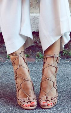 Nude Lace-Up Heels ♥ L.O.V.E. Lace Up Sandals, Strappy Heels, Shoes Heels, Shoe Boots, Nude Heels, Tan Lace Up Heels, Nude Sandals, High Heels, Fashion Tag