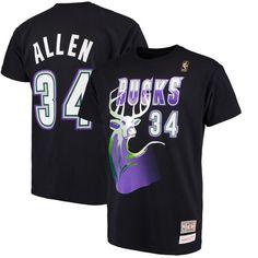 Ray Allen Milwaukee Bucks Mitchell   Ness Hardwood Classics Retro Name    Number T-Shirt - Black f3b937055